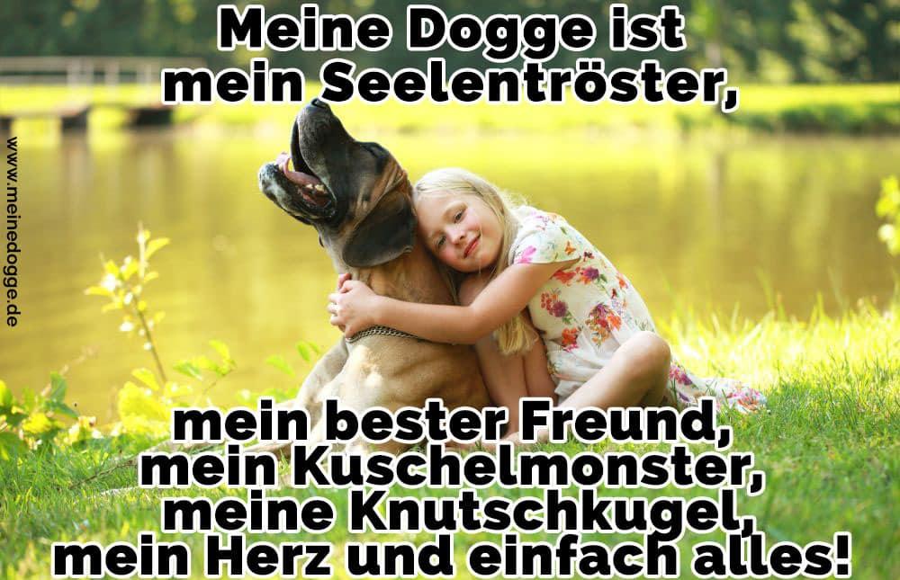 Ein Mädchen umarmt ihre Dogge